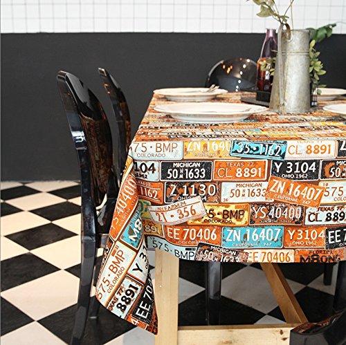 ernschild Muster Tischdecke Retro-Druck Leinwand Tisch Tuch Tuch Art ( Farbe : Beige , größe : 140cm*220cm ) (Personalisierte Tischdecke)
