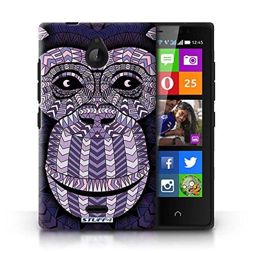 Kobalt® Imprimé Etui / Coque pour Nokia X2 Dual Sim / Loup-Mono conception / Série Motif Animaux Aztec Singe-Pourpre