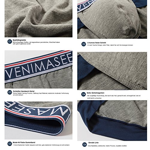 VENI MASEE® Sport Sexy Modal Atmungsaktive Herren Boxer Shorts Unterwäsche Trunks weiß 4pcs