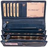 Hill Burry Leder Geldbörse | echtes Vintage Leder - XXL weiches Portemonnaie (Blau)