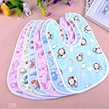BRANDONN Newborn Multicolor Waterproof Cotton Bibs-(Pack of 6 ; Fast Dry Bibs)