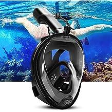 ELEPOWSTAR Snorkel mascarilla natación inmersión snorkel en 180 ° cara panorámica completa anti-fog diseño L