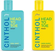 Cinthol Head to Toe Fresh Burst, 190ml and Cinthol Head to Toe Cool Wave, 190ml