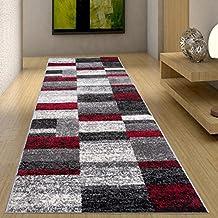 Alfombra De Pasillo Moderna Colección Twist - Color Antracita Gris Rojo De Diseño Cuadrado - Mejor Calidad - Diferentes Dimensiones S-XXXL 70 x 400 cm
