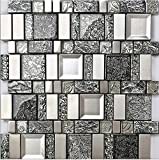 Rustikale graue Harz Mix Metall Fliesen Design, gemischte Küche Backsplash Wand Glasfliesen, Vintage Mosaik Baustoffe, LSRN13 (300x300mm/Stück)
