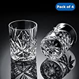 Ecooe Vintage / Old Fashioned Whisky Tumblers for Scotch, Bourbon, Whiskey, and More - Set of 4