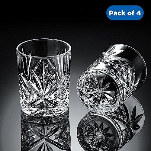 Ecooe 4 x Whiskeygläser Whisky Glas Set Whiskybecher 300ml für Scotch, Bourbon, Whiskey und Viele Getränke Mehr