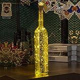 Flaschen-Licht, HUAFA Weinflaschen Lichter (Gold Flasche), USB Wiederaufladbar.