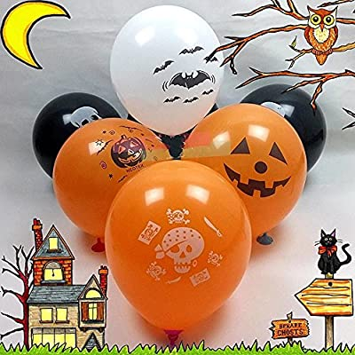 "NMUE 50 Pcs 12"" Latex Halloween Balloons, Pumpkin Balloons, Halloween Face Skeleton face, Balloons for Party Decoration"