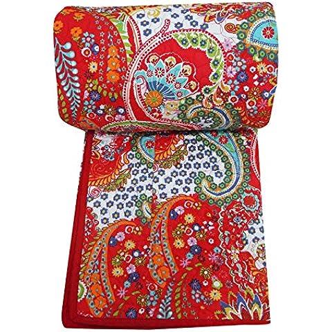 New puro cotone, colore: rosso con motivo cachemire-Trapunta Gudri 276,86 cm di lato imbottito (109 X 228,60 (90 cm