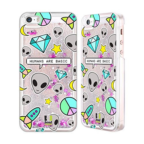 Head Case Designs Basic Humans Alien Emoji Custodia Cover con Glitter Liquidi Argento per Apple iPhone 5 / 5s Basic Humans