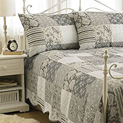 Viena Patchwork en relieve acolchado colcha de cama propagación almohada, poliéster, gris, doble