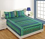 """Tamaño de la reina del algodón de la India Impreso hoja de cama de 90 x 108 pulgadas y funda de almohada de 20 """"x32"""" Set"""