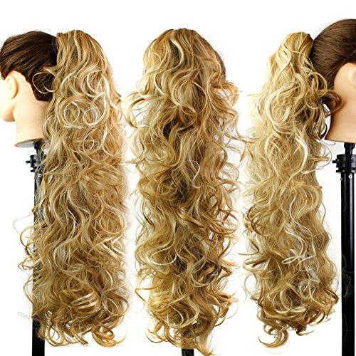 Hibote Perücken Haarteil Damen Blond Gewellt Frauen Hair Piece Zopf Pferdeschwanz Echthaar Synthetic Natur Perücke Flauschige Curl Perücken