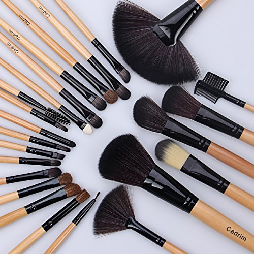 Make up Brushes, Cadrim 24 pcs Natural Hair Professional Makeup Brush Set Travel Makeup Brush Kit with Case (burlywood)