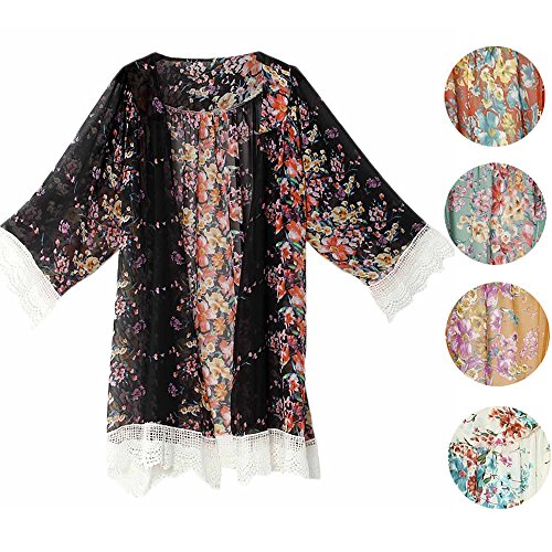 Winwintom Femmes imprimées châle en mousseline de soie Kimono Cardigan Tops Cover Up Blouse Noir