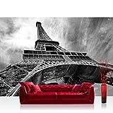 Vlies Fototapete 200x140 cm PREMIUM PLUS Wand Foto Tapete Wand Bild Vliestapete - Frankreich Tapete Eiffelturm Paris Wolken Vintage grau - no. 635