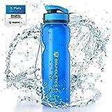 Boundletics Trinkflasche 1L - Wasserflasche BPA frei - Tritan Sportflasche blau