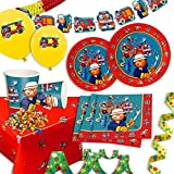 Deko Set für Feuerwehr-Kindergeburtstag kleine Kinder, 49-tlg. Mottoparty Set