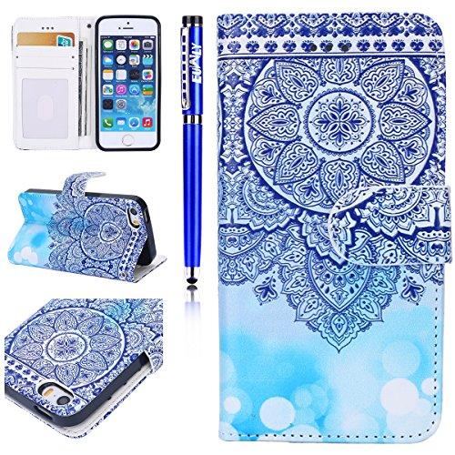 Custodia iPhone 6 Plus/iPhone 6s Plus (5.5), EUWLY Flip Cover Leather Wallet Case Custodia per iPhone 6 Plus/iPhone 6s Plus (5.5) in PU Pelle, Bling Bling Custodia Cover con Ultra Sottile Interno Si Mandala Floreale Blu