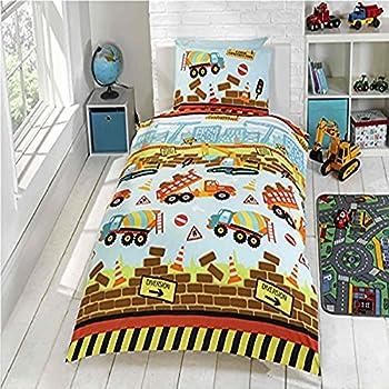 ensemble de draps en lin enfant tractopelles 135x200cm. Black Bedroom Furniture Sets. Home Design Ideas