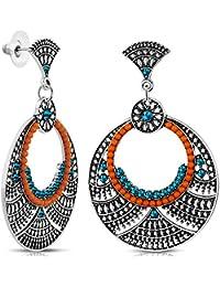 Zoé & Nina - Boucles d'oreilles ethnique chic oranges et turquoises - Boucles d'oreilles pendantes - Métal argenté - Femme