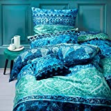 Living Dreams Mako-Satin Bettwäsche Indi blau 155x220 cm + 80x80 cm