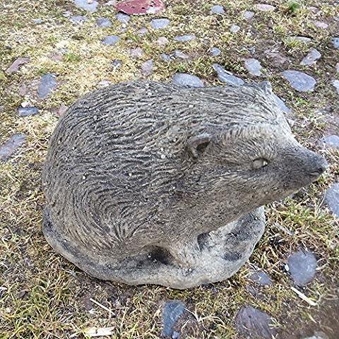 Stone hedgehog garden ornament statue