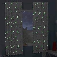 Delindo Lifestyle® rideau fluorescent de chambre d'enfant LA MAGIE, 145x175 cm, etoile, pattes cachées ou ruban volant…