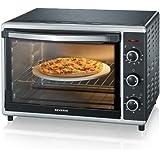 SEVERIN Mini-Four à Chaleur Tournante 42 L, Inclus : Tournebroche et Pierre à Pizza (Ø 29cm), Minuteur 120 min, 1 800 W…