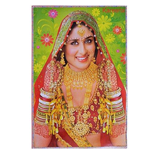 Poster Kareena Kapoor rot goldener Sari 75 x 50 cm Bollywood Star Schauspielerin Hochglanzpapier Bild (Sari Schönheit)