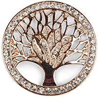 styleBREAKER Tree of Life Magnetic Jewellery Pendant for Scarves, Shawls or Ponchos with Rhinestones, Brooch, Ladies 05050029, Color:Rose Gold