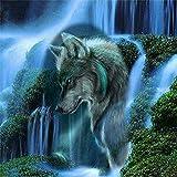HOHOME 5D Diamant Gemälde Kreuzstich DIY Handgefertigt Stickpackung Full Drill Kunstharz Strasssteine eingefügt Mosaik für Home Dekoration mit Aufbewahrungsbox–Wasserfall Wolf