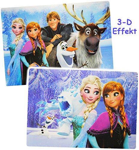 Unterlage-3-D-Effekt--Disney-die-Eisknigin-Frozen-als-Tischunterlage-Platzdeckchen-Platzmatte-42-cm-29-cm-Malunterlage-Knetunterlage-Eunterlage-fr-Kinder-Erwachsene-Mdchen-Jungen-kleine-Schreibunterla