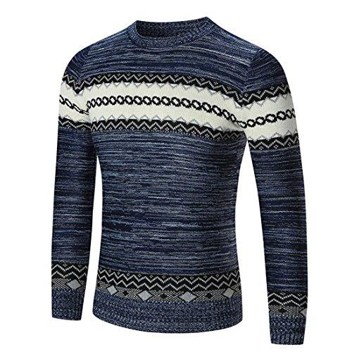 Herren Strickwaren,FRIENDGG Männer Herbst Winter Lässige Mode Pullover Pullover Schlank Langarm Jumper Outwear Bluse Strick Hemd Strickjacken (XXL, Marine-2)