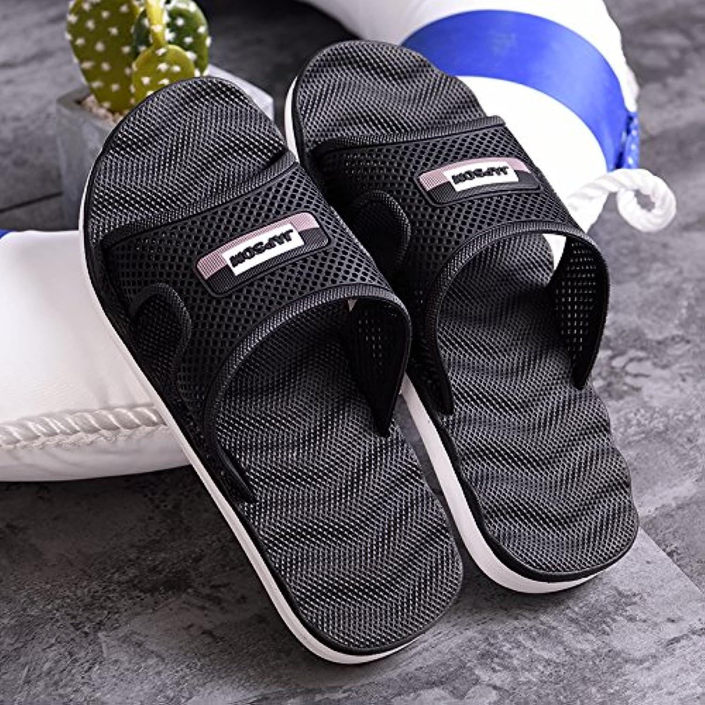 MONAcwe Sandalias Flip-Flops zapatillas tamaño grande hombre de Verano de suela gruesa baño anti-deslizamiento