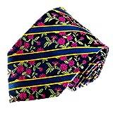 Lorenzo Cana - Marken Krawatte aus 100% Seide - Original Markenware - blau lila Blumen Blüten gold gestreift - 12022