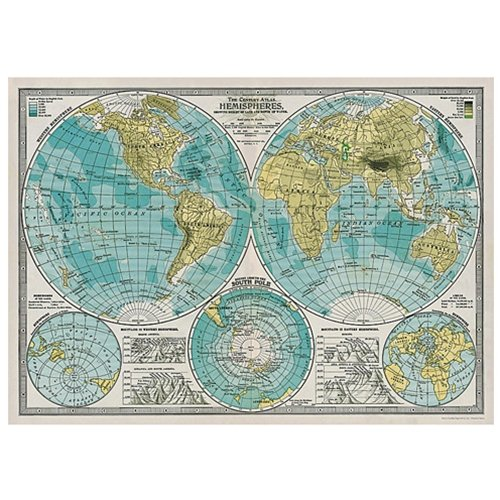 Cavallini & Co. Hemispheres Map Decorative Decoupage Poster Wrapping Paper Sheet