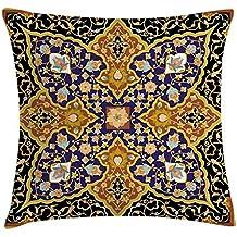 DIYCCY - Funda de cojín con estampado de mosaico árabe y floral, diseño de flores
