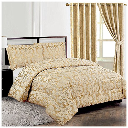 Homes & Deco Diana 3Stück Schwere Jacquard Gesteppt Blumen Tagesdecke Tröster Bett Set, Beige, King Size (Jacquard-bett Stück 7)