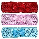 Crochet Cutwork Flower Baby Headband (Red, Pink, Blue) 3 Pcs Set