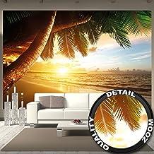 Tapiz de foto Puesta de sol en el mar Mural Decoración Caribe Palm Beach Playa Sol Vacaciones Viajes Naturaleza Isla I foto-mural foto póster deco pared by GREAT ART (336 x 238 cm)
