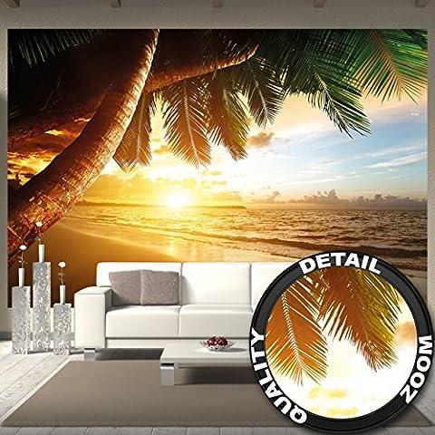 Papier peint de coucher du soleil au bord de la mer peinture murale de décoration de plage Caribéenne soleil de plage nature d'île pour les voyages de vacances | murale photo GREAT ART (336 x 238 cm)