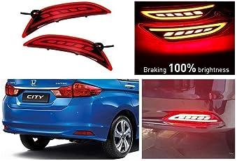 Automaze Rear Bumper LED Reflector Brake Light For Honda City 2014-2016 Models, Set of 2 Pc