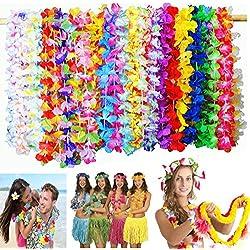 Dproptel Färbig Hawaiianische Kränze Tropische Blumen Hawaii Blumenketten Girlanden Hawaiikette für Tropische Thema Party,Graduierung,Dekorationen 36Stücken 90cm
