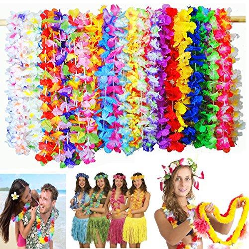 aiianische Kränze Tropische Blumen Hawaii Blumenketten Girlanden Hawaiikette für Tropische Thema Party,Graduierung,Dekorationen 36Stücken 90cm ()