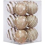 """Equipo de mar 75mm espuma de bolas de árbol de Navidad (21cm, plástico resistente al impacto/2,95""""brillantes bolas de Navidad con patrones de encaje–juego de 12, plástico, dorado, 75mm/2.95"""""""