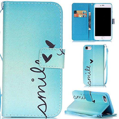 """Ooboom® iPhone 7 4.7"""" Hülle Flip PU Leder Schutzhülle Handy Tasche Case Cover Wallet Standfunktion mit Kartenfächer Trageschlaufe - Eule Smile"""
