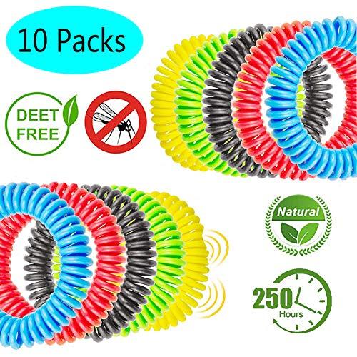 Geekerchip braccialetto antizanzare [10 pezzi],braccialetti repellenti per zanzare deet free e privi di sostanze tossiche o nocive con citronella ed impermeabile e sicuro per adulti e bambini
