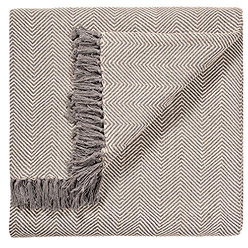 Fair Trade Soft Hand Woven Tagesdecke Sofa Sofa Überwurf Grau chevron Muster 100% Baumwolle 225x 250cm BS7) (Woven Hundebett)